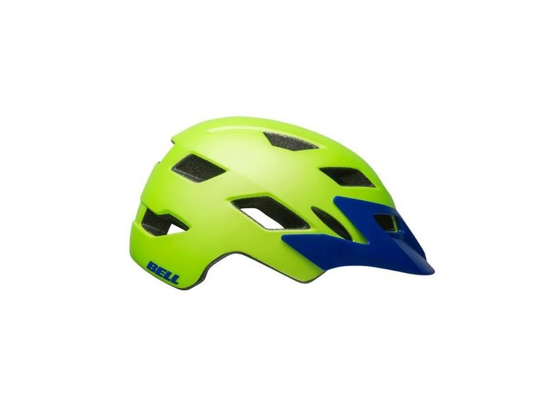 Bell Sidetrack Child Helmet 2019: Matte Bright Green/Blue Unisize 47-54cm click to zoom image